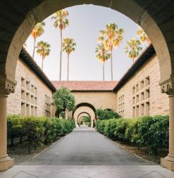 Memorial Quad arches on Stanford University campus.