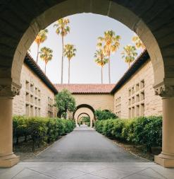 Stanford Campus classrooms, as viewed through a classic campus arch